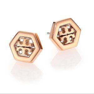 Tory Burch NWOT Rose Gold Hexagon Logo Earrings